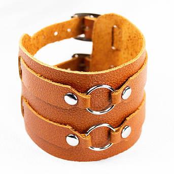 Браслет кожаный BKВ-178 два ремешка с кольцами, фото 2