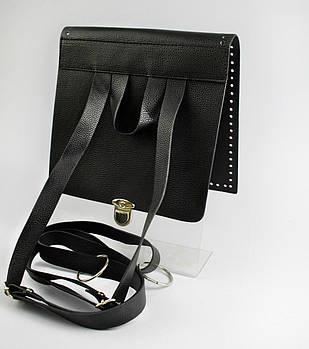 АКЦИЯ Клапан+задняя стенка для рюкзака экокожа Черный 23см с лямками фурнитура серебро
