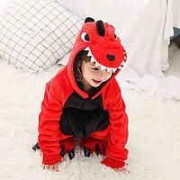 Пижама кигуруми для детей Дракон красный 110 (105-115см)