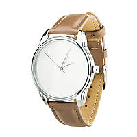 Часы наручные ZIZ Минимализм (ремешок серо - коричневый, серебро) + дополнительный ремешок, фото 1