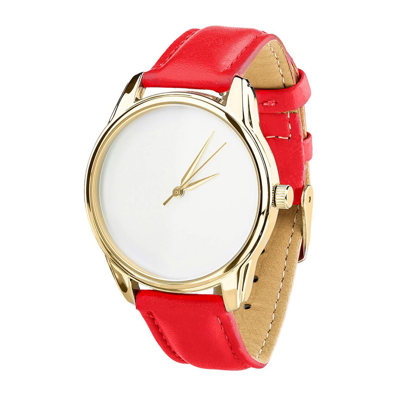 Часы наручные ZIZ Минимализм (ремешок маково - красный, золото) + дополнительный ремешок