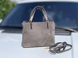 Сумка женская серая замшевая классическая небольшая деловая сумочка натуральная замша+экокожа