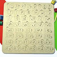 Набор для изучения цифр 1-50, детский пазл, сортер, деревянные цифры, дерев'яні цифри, рамка вкладыш из дерева