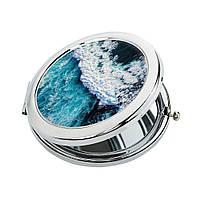 Карманное зеркало ZIZ Океаническая волна зеркальце для макияжа подарочное