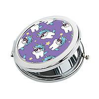 Карманное зеркало ZIZ Единорожки зеркальце для макияжа подарочное