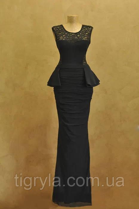 Платье в пол с баской и открытой спиной черное вечернее, макси, выпускное, сукня довга чорна Кики рики