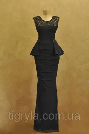 Платье в пол с баской и открытой спиной черное вечернее, макси, выпускное, сукня довга чорна Кики рики, фото 2