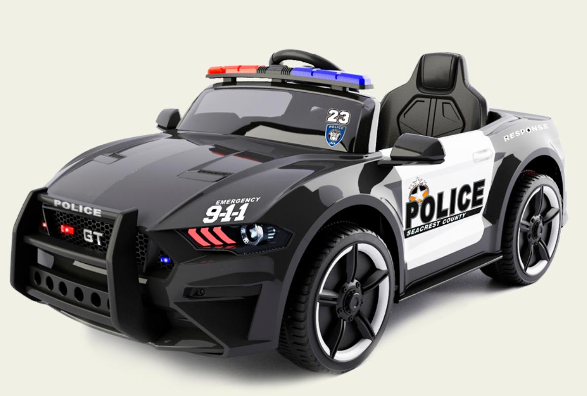 Електромобіль Поліція Ford Mustang Police MP3, дисплей, порт USB, порт SD Card, світлові ефекти, C2007