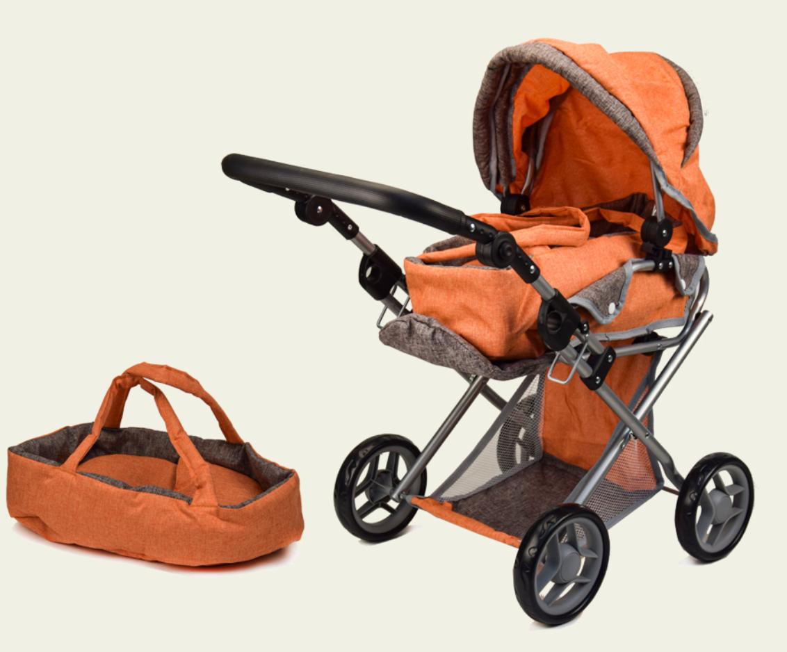 Коляска-трансформер для ляльок 9346-Orange помаранчева з коричневим, зима-літо, знімна люлька, корзина