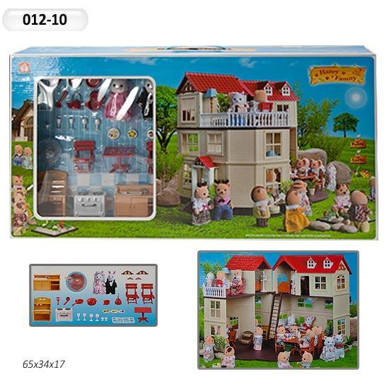 Будиночок для флоксовых тварин, меблі, фігурки тварин в комплекті Happy family 012-10