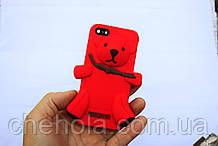 Противоударный силиконовый чехол Moschino Медвежонок iphone 5 5S SE Красный