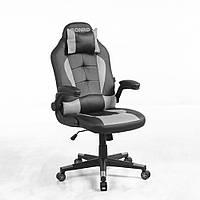 Кресло кожаное игровое геймерское для компьютера и офиса с системой качания TILT серое