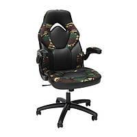 Кресло кожаное игровое геймерское для компьютера и офиса комфортное камуфляж