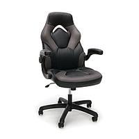Кресло кожаное игровое геймерское для компьютера и офиса комфортное серое