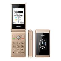 Кнопочный телефон раскладушка Uniwa X28 gold красивый мобильный телефон в металлическом корпусе