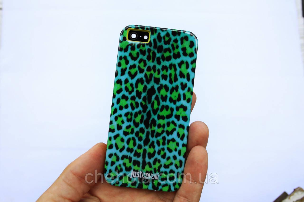 Противоударный силиконовый Чехол для iPhone 5 5S SE Just Cavalli Яркий леопард
