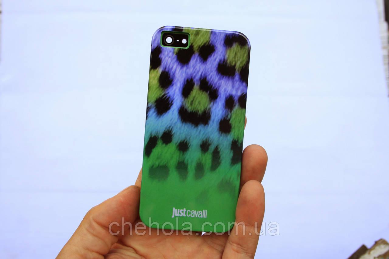 Противоударный силиконовый Чехол для iPhone 5 5S SE Just Cavalli Зеленый леопард