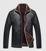 Зимова чоловіча куртка з еко-шкіри на хутрі, фото 1