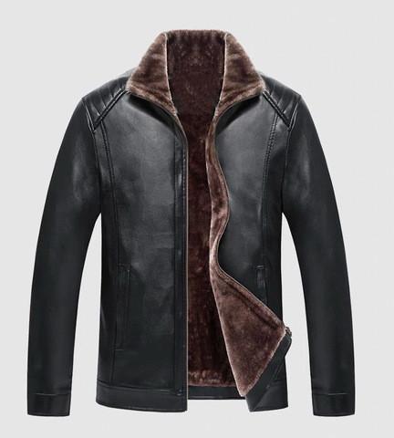 Зимова чоловіча куртка з еко-шкіри на хутрі