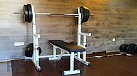 PProf 0115. Лава для жиму, стійки для присідань + 115 кг млинців і 3 грифа