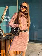 Жіноче шикарне в'язане плаття в стилі Лало (рожевий,пудра,беж, пляшка,джинс, чорне, бордо, коричневий, гір