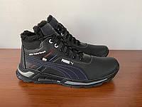Чоловічі зимові черевики чорні спортивні прошиті теплі ( код 5541 ), фото 1