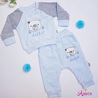 """Детский велюровый  костюм """"Неllo"""" в голубом 1-3, 9-12 месяцев"""