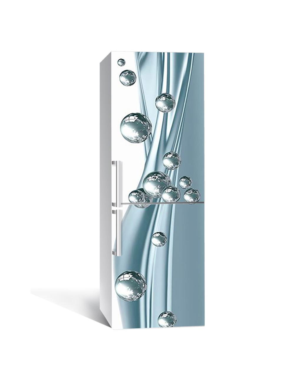 Виниловая 3Д наклейка на холодильник Блестящие шары (самоклеющаяся пленка ПВХ) сферы Абстракция Голубой 650*2000 мм