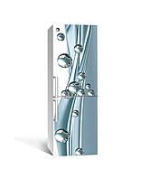Виниловая 3Д наклейка на холодильник Блестящие шары (самоклеющаяся пленка ПВХ) сферы Абстракция Голубой 650*2000 мм, фото 1