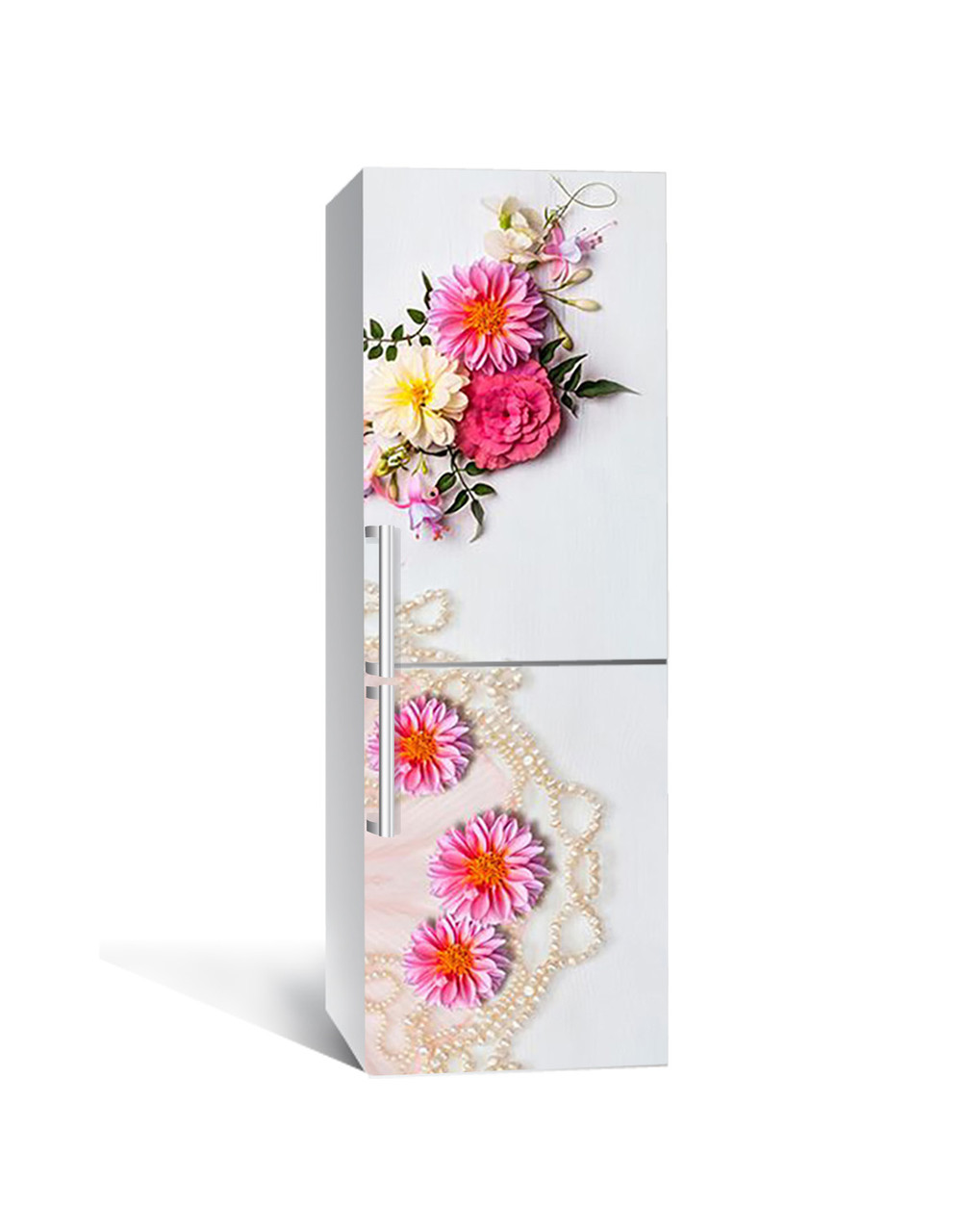 Виниловая 3Д наклейка на холодильник Жемчужные бусы (самоклеющаяся пленка ПВХ) Цветы Белый 650*2000 мм