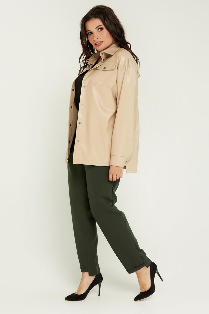 Жіноча сорочка Динара з еко-шкіри великих розмірів бежева