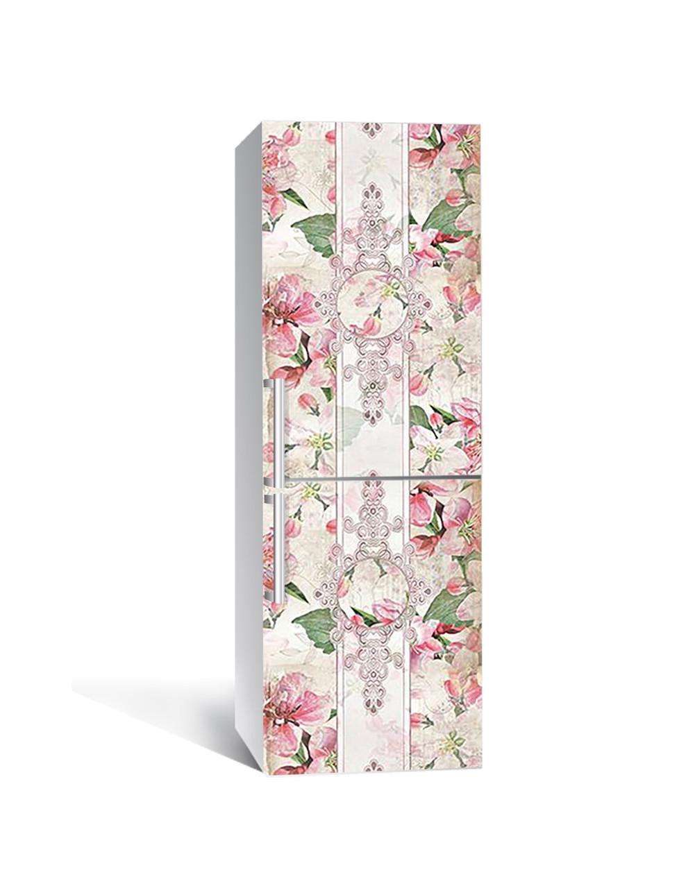 Виниловая 3Д наклейка на холодильник ЦветыВинтажный орнамент (самоклеющаяся пленка ПВХ) узоры Розовый 650*2000 мм