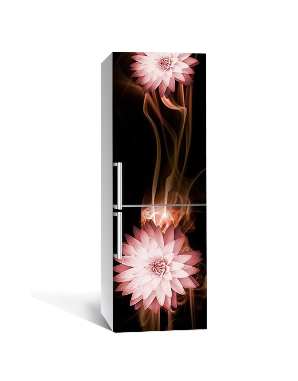 Виниловая 3Д наклейка на холодильник Цветы Скорость (самоклеющаяся пленка ПВХ) линии Абстракция Коричневый 650*2000 мм