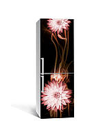 Виниловая 3Д наклейка на холодильник Цветы Скорость (самоклеющаяся пленка ПВХ) линии Абстракция Коричневый 650*2000 мм, фото 1