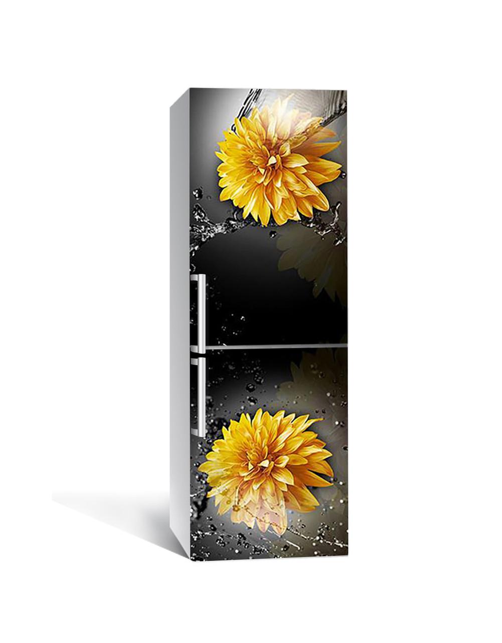 Виниловая 3Д наклейка на холодильник Желтые Хризантемы (самоклеющаяся пленка ПВХ) брызги воды Цветы Черный 650*2000 мм