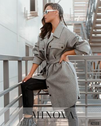 Стильное пальто без подкладкиа большие размеры Украина Размеры: 52-54, 56-58, фото 2