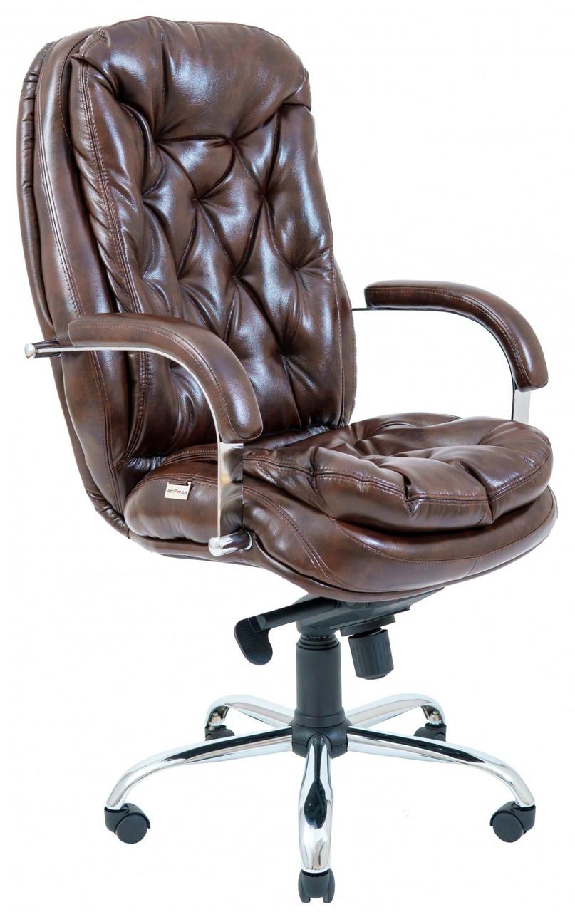 Офисное Кресло Руководителя Венеция Мадрас Dark Brown Хром М2 AnyFix Коричневое