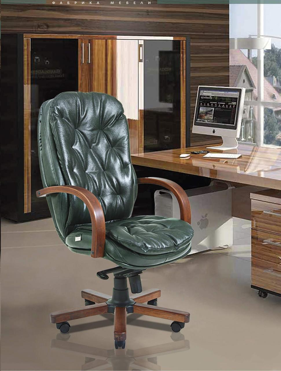 Офисное Кресло Руководителя Венеция Мадрас Green India Wood М3 MultiBlock Зеленое