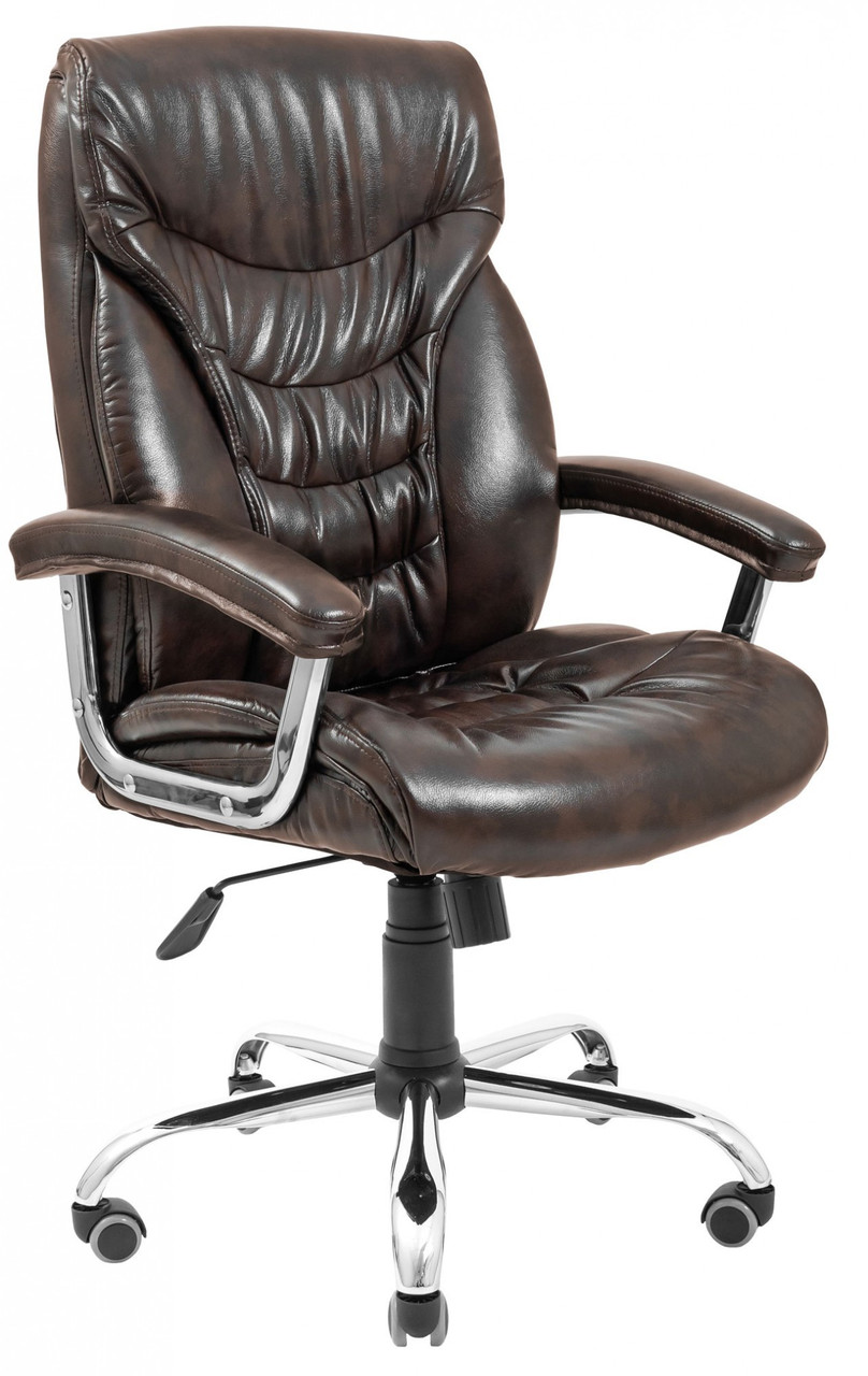 Офисное Кресло Руководителя Cagliari Титан Dark Brown Хром М2 AnyFix Коричневое