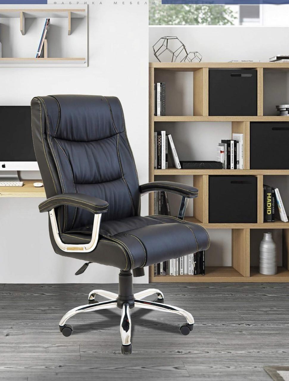 Офисное Кресло Руководителя Miami Fly 2230 Хром М3 MultiBlock Черное