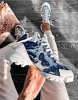 Кроссовки женские белые DIOR с синим цветочным принтом