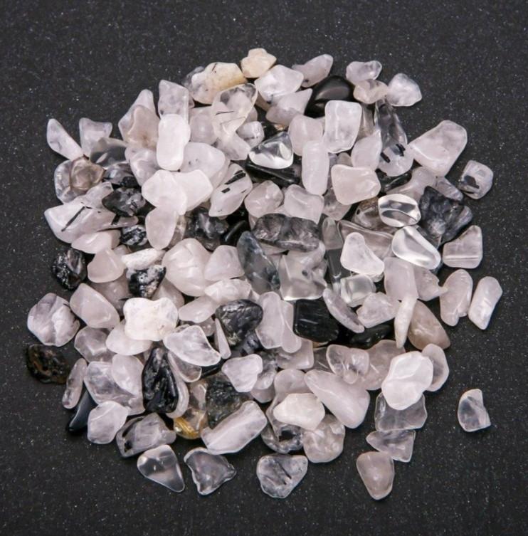 Камень натуральный кварц черно-прозрачный крошка, фракция размер 7-10мм,  20г