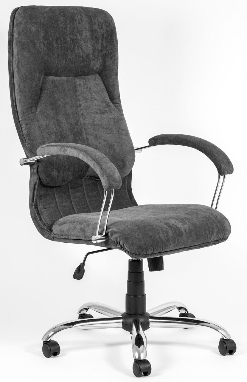 Офисное Кресло Руководителя Richman Никосия Grey Velour Хром М2 AnyFix Серое
