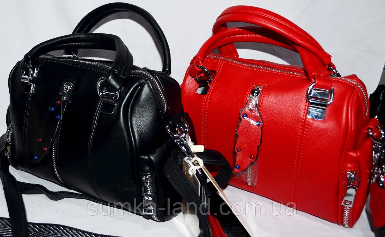 Женские молодежные клатчи Премиум класса с двумя ручками и ремешком 27*19 см (черный и красный)