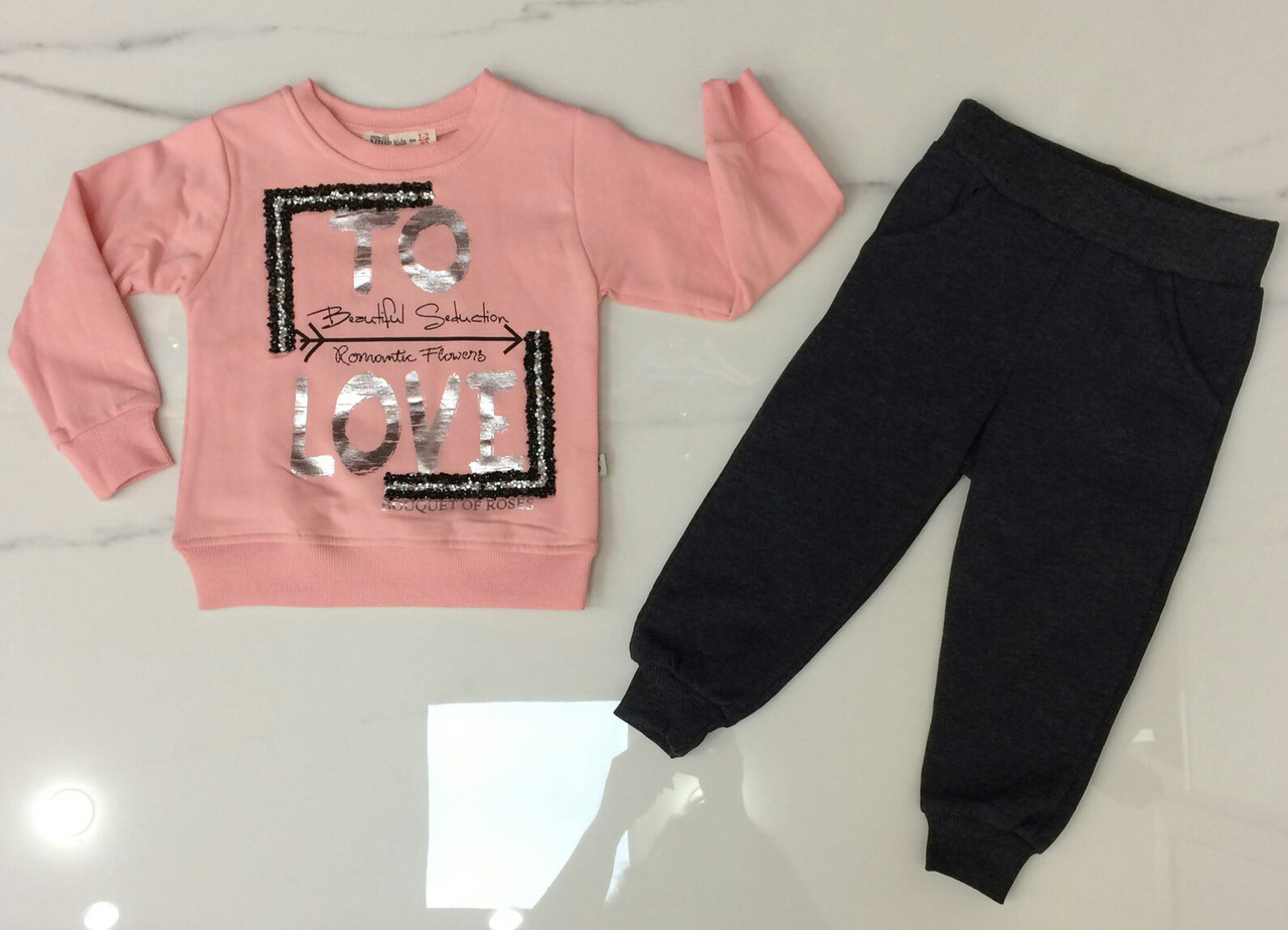 Детский костюм 2-5 лет с начесом для девочек Турция оптом