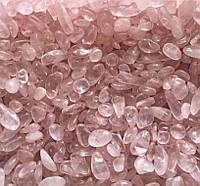 Камень натуральный розовый кварц, нежный полупрозрачный цвет, фракция размер 3-7 мм, 30г