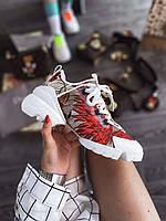 Кроссовки женские белые DIOR с красным цветочным принтом
