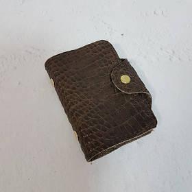 Картхолдер с файлами - натуральная кожа, коричневая с тиснением под крокодила