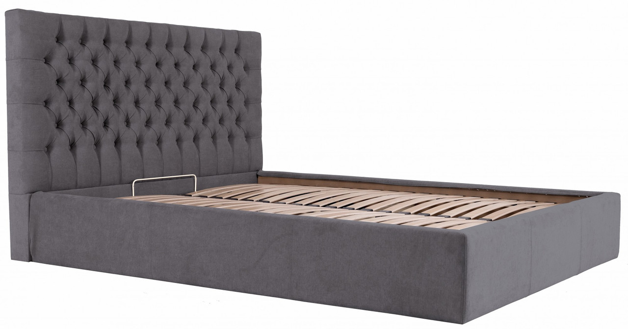 Кровать Richman Кембридж VIP 140 х 200 см Мисти Dark Grey С дополнительной металлической цельносварной рамой