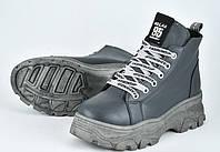 Зимние подростковые ботинки серые сапоги со шнуровкой для девочки